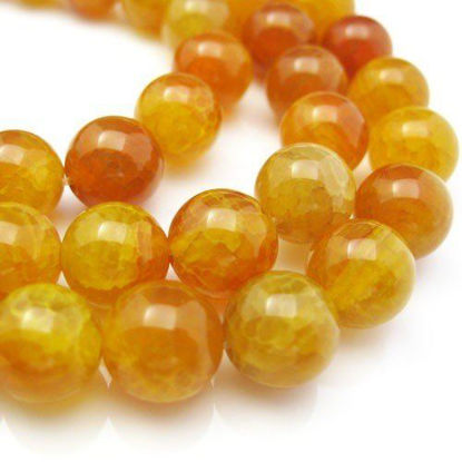 Golden Color Agate - Dragon Vein, Round Shape 10mm (Sold Per Strand)