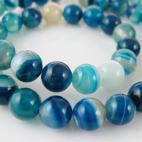 Blue Watermark Agate Beads - Smooth Round 8mm (Sold Per Strand)