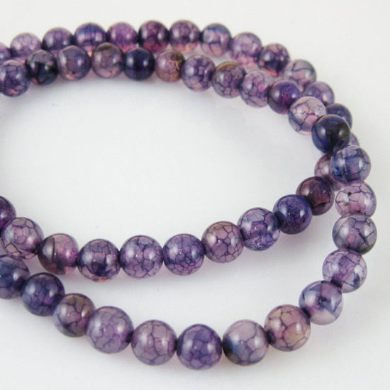 Purple Dragon Vein Agate Beads - Smooth Round 6mm (Sold Per Strand)