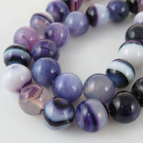 Purple Watermark Agate Beads - Smooth Round 10mm (Sold Per Strand)