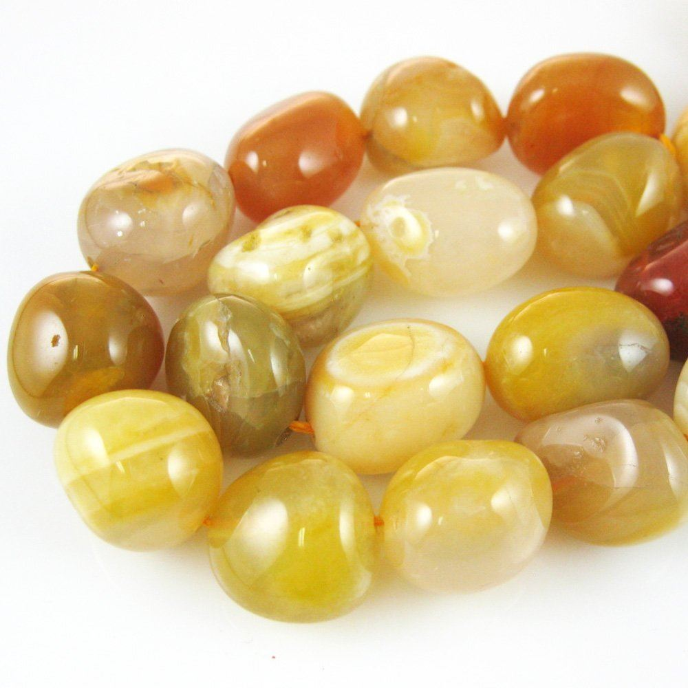 Yellow Smooth Freeform Agate Beads (Sold Per Strand)