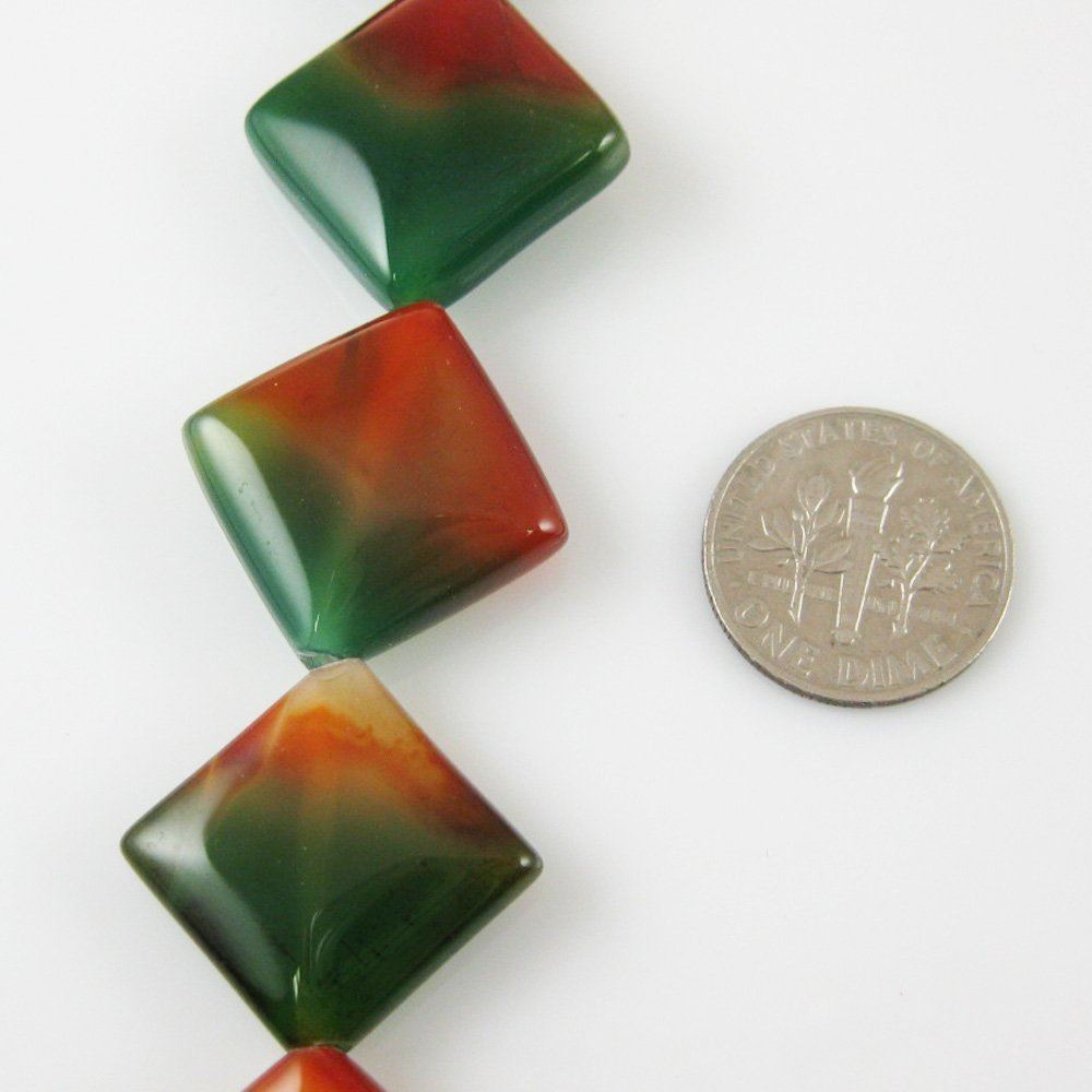 Green and Orange Smooth Square Agate Beads (Sold Per Strand)