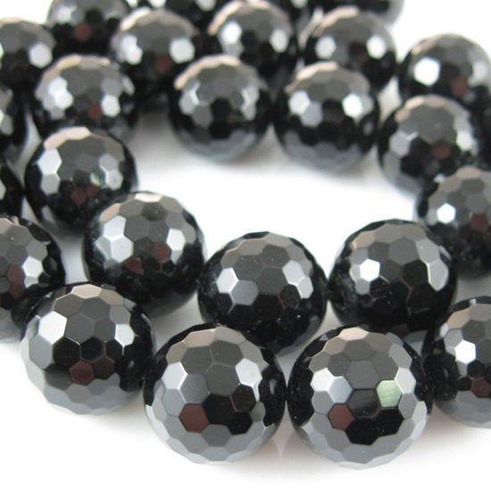 Black Onyx Faceted Round Beads - 14mm (Sold Per Strand)