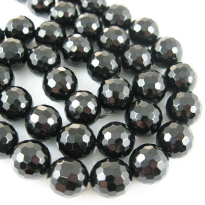 Black Onyx Faceted Round Beads - 10mm (Sold Per Strand)