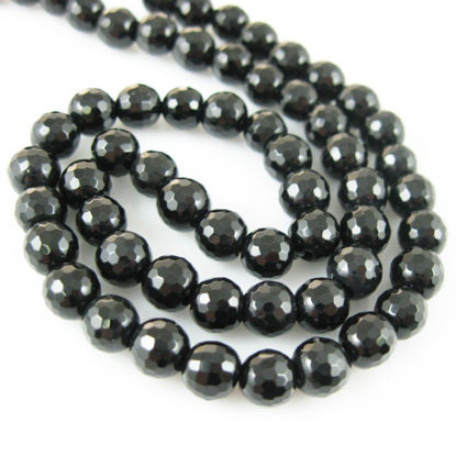 Black Onyx Faceted Round Beads - 6mm (Sold Per Strand)