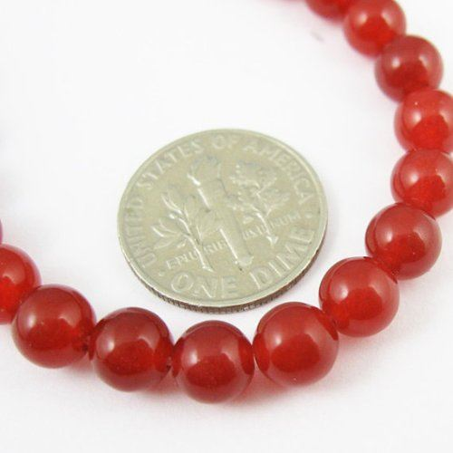 Gemstone Round Beads, Red Jade, Smooth Surface, 6mm (Sold Per Strand)