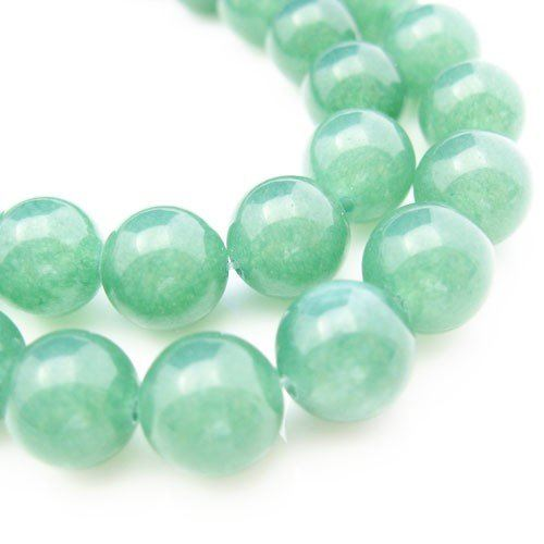 Gemstone Smooth Round Beads, Nature Stone Green Jade 10mm (Sold Per Strand)
