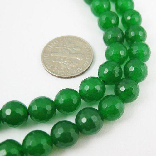 Gemstone Faceted Round Beads, Green Jade 8mm (Sold Per Strand)