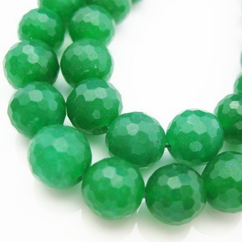 Gemstone Faceted Round Beads, Nature Stone Green Jade 10mm (Sold Per Strand)