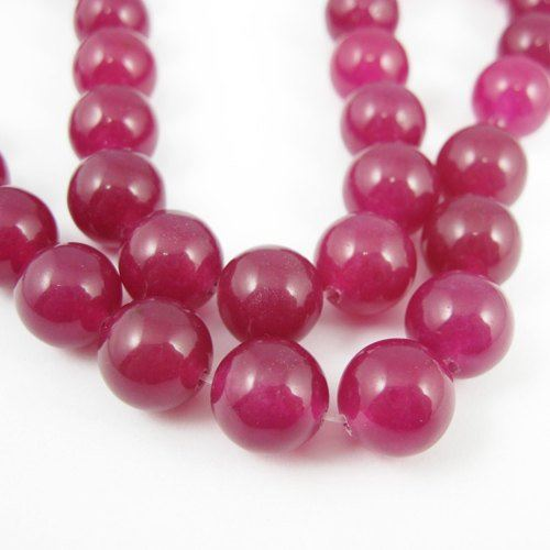 Rose Red Jade - Gemstone Smooth Round Beads 10mm (Sold Per Strand)