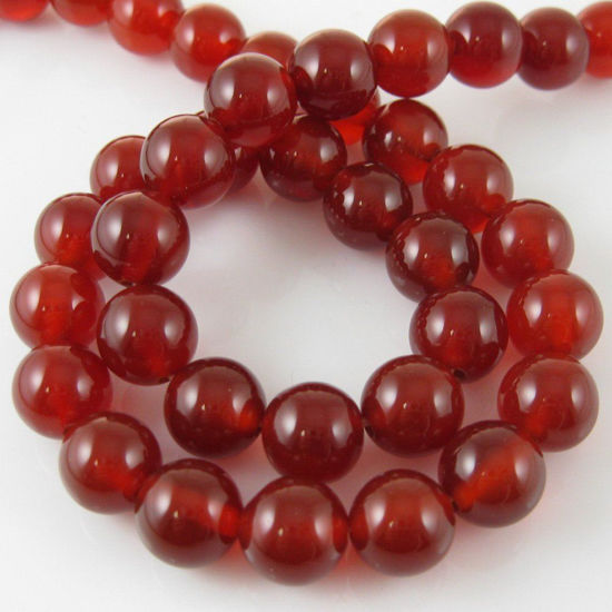 Reddish Brown Jade - Gemstone Smooth Round Beads 10mm (Sold Per Strand)