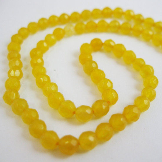 Yellow Jade - Gemstone Faceted Round Beads 4mm (Sold Per Strand)