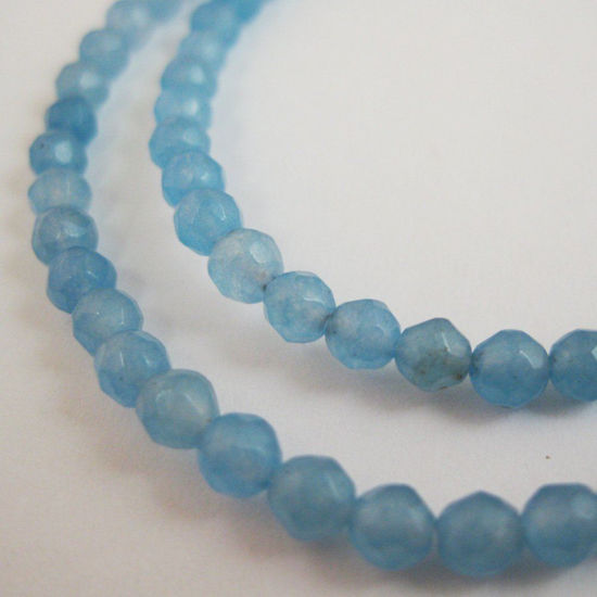 Light Blue Jade - Gemstone Faceted Round Beads 4mm (Sold Per Strand)