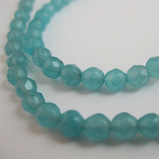 Sky Blue Jade - Gemstone Faceted Round Beads 4mm (Sold Per Strand)