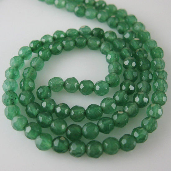 Green Jade - Gemstone Faceted Round Beads 4mm (Sold Per Strand)