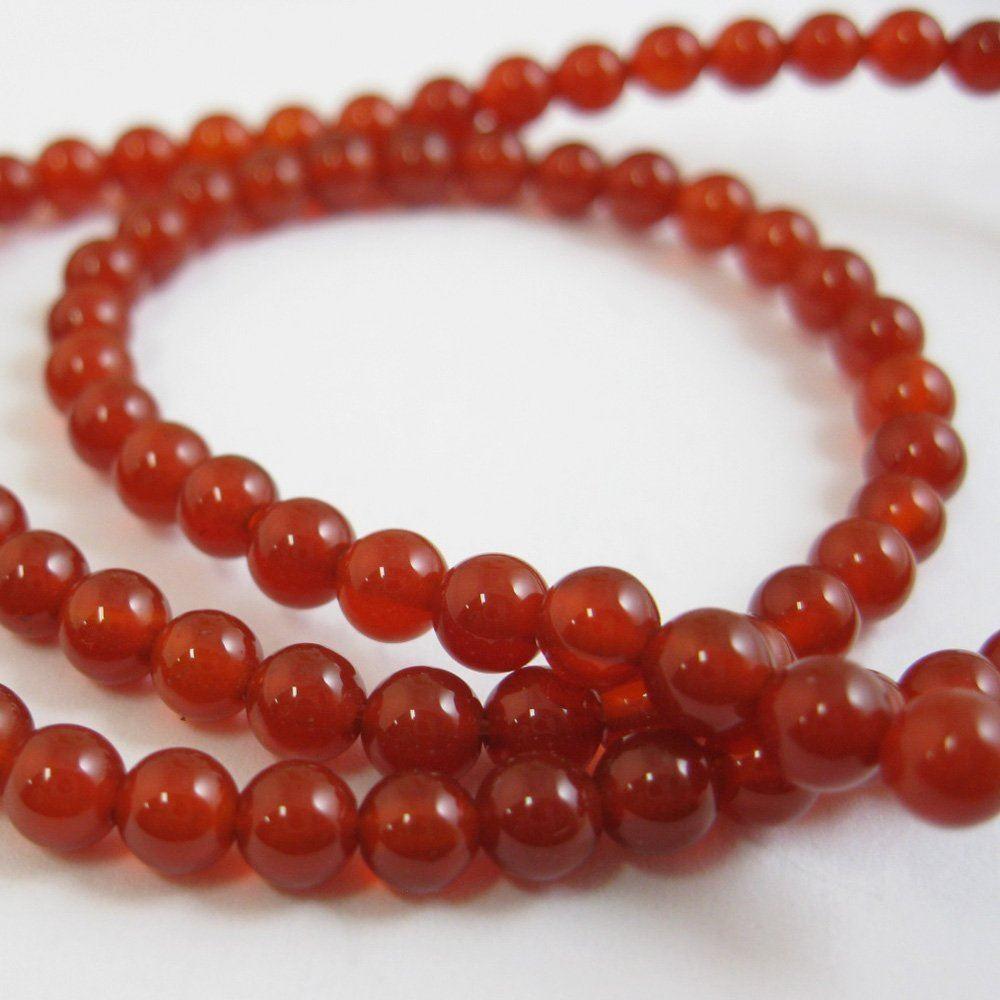Red Jade - Gemstone Smooth Round Beads 4mm (Sold Per Strand)