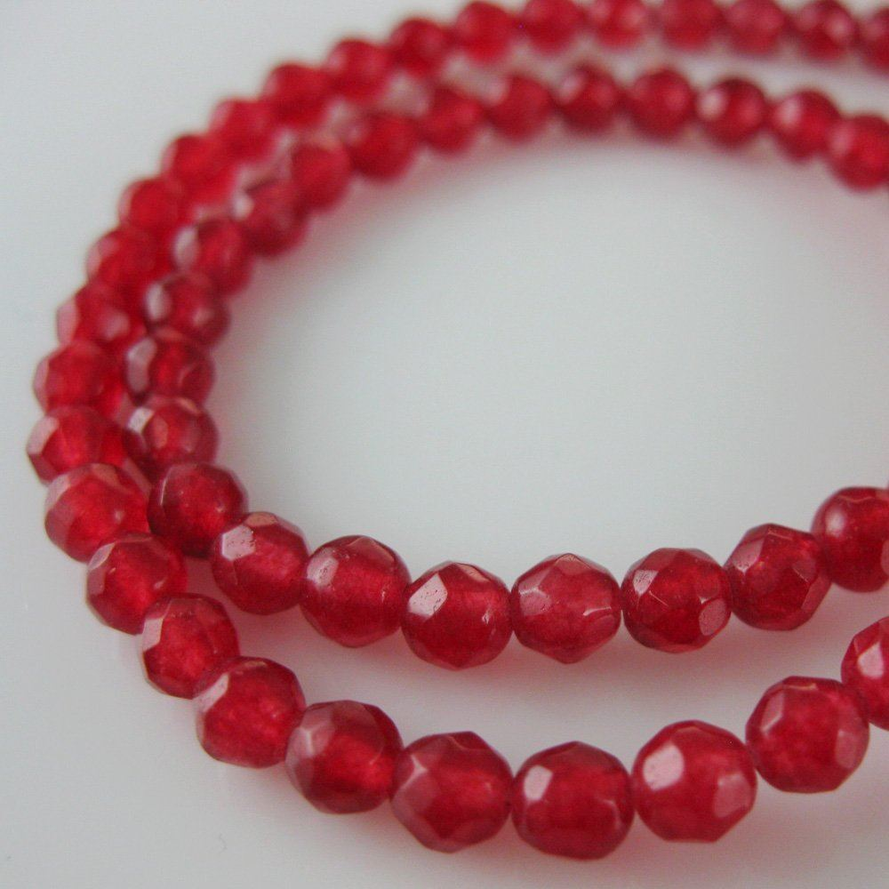 Red Jade - Gemstone Faceted Round Beads 4mm (Sold Per Strand)