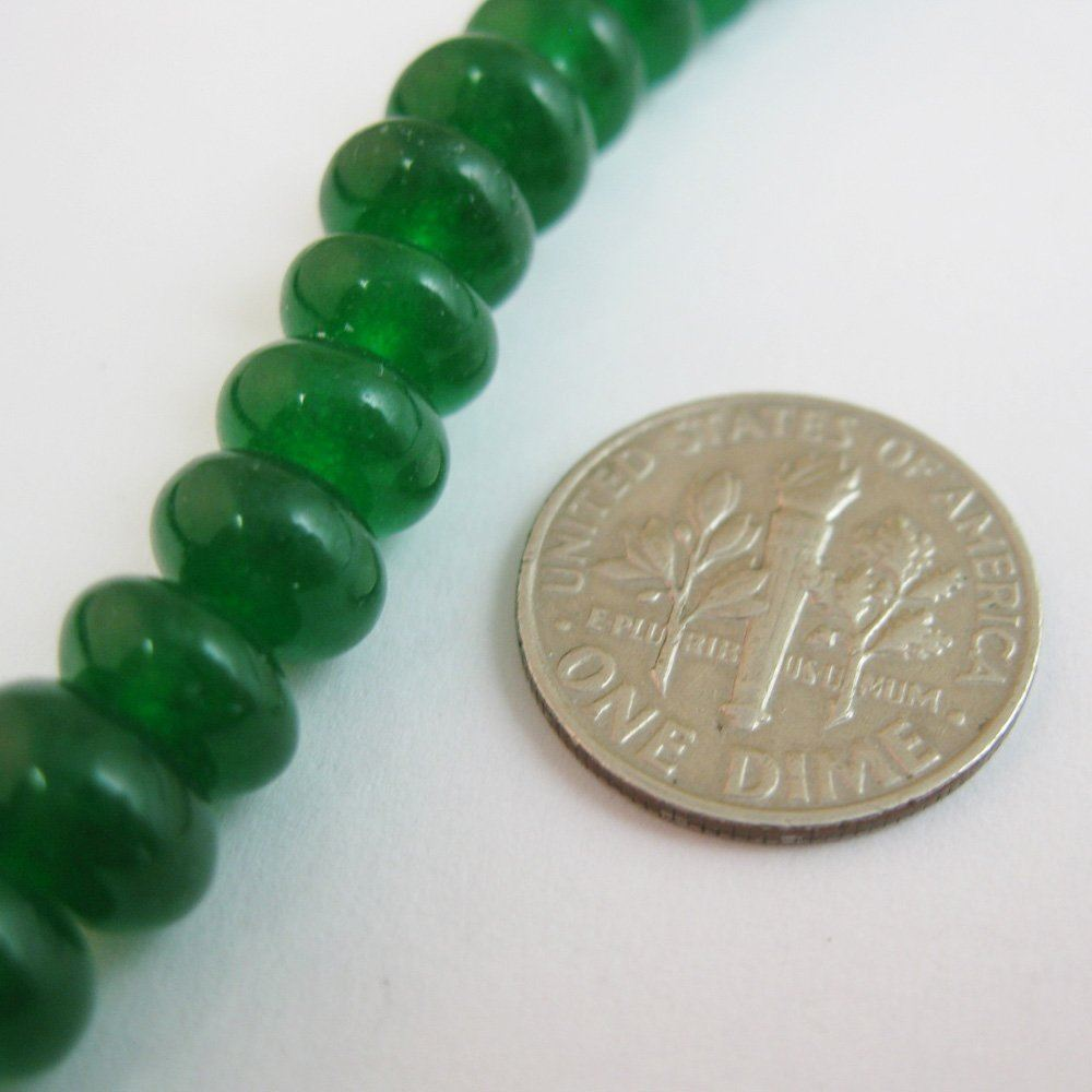 Green Jade - Gemstone Smooth Rondelle Beads 6 by 4mm (Sold Per Strand)