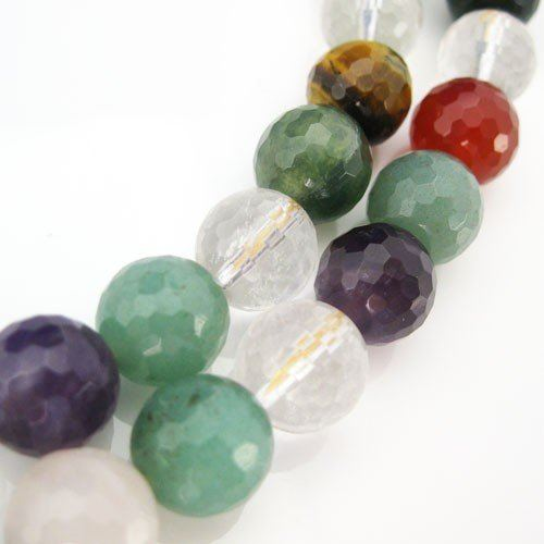 Mulit-Color Gemstone Faceted Round Beads - 10mm (Sold Per Strand)