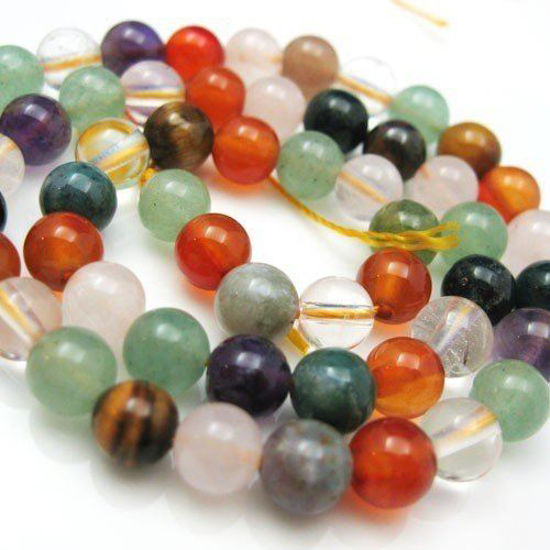 Mulit-Color Gemstone - Nature Stone - Smooth Round Beads - 6mm (Sold Per Strand)