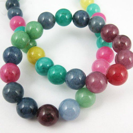 Multi-Color Jade - Gemstone - Smooth Round 10mm(Sold Per Strand)
