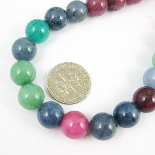 Multi-Color Jade - Gemstone - Smooth Round 10mm(Sold Per Strand)