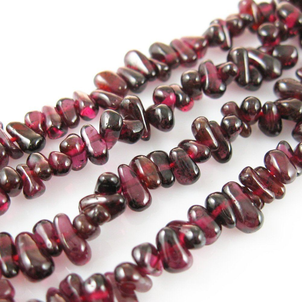 Garnet Beads - Tiny Smooth Chips (Sold Per Strand)