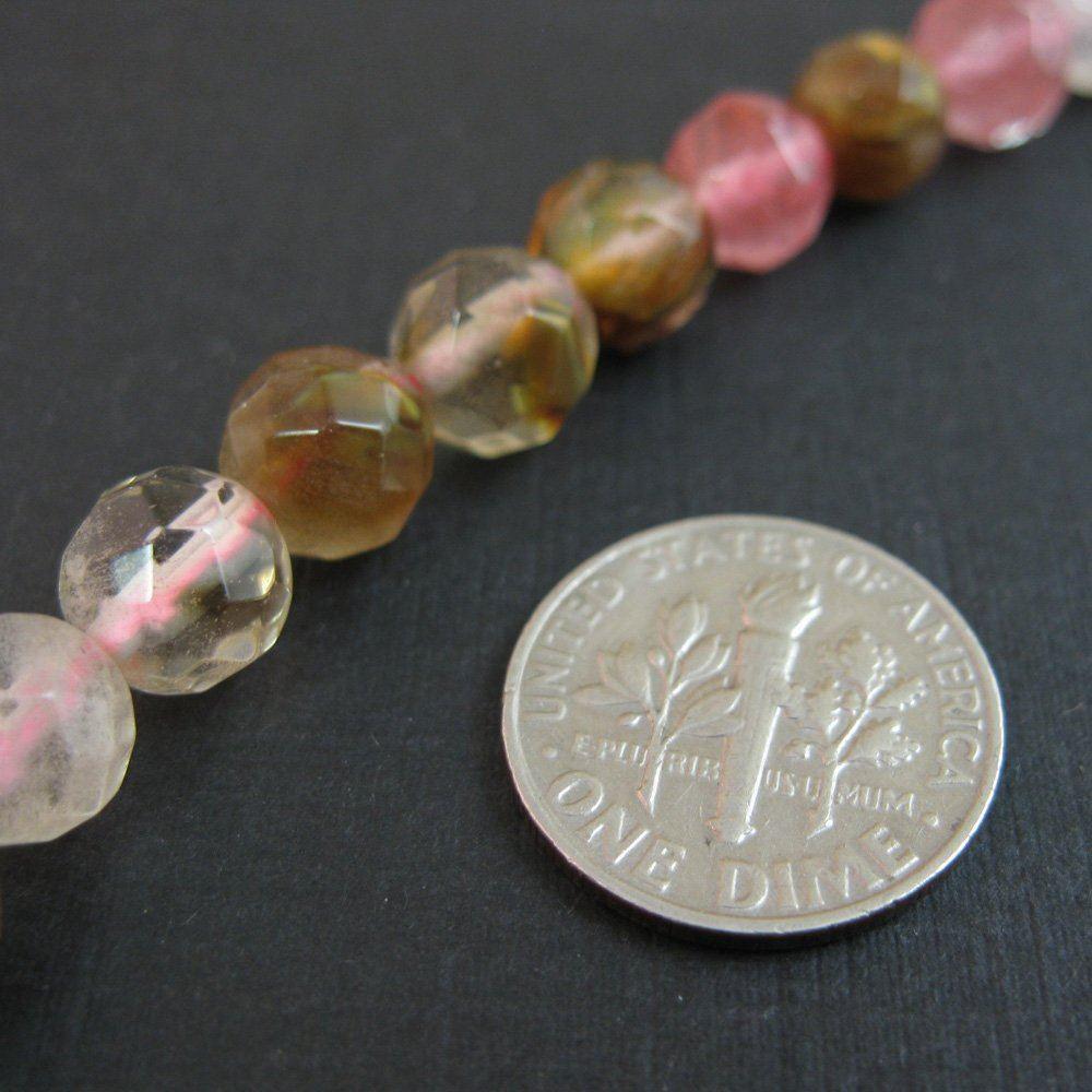 Multi-Colored Quartz - Nature Stone - Faceted Round Beads - 8mm (sold per strand)