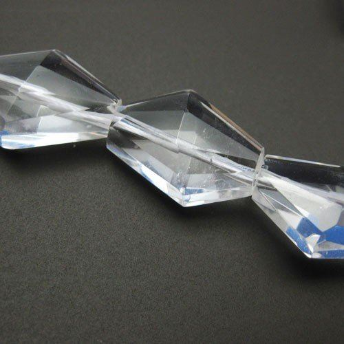 Clear Crystal Quartz Beads - Nature Stone - Diamond Shape (Sold Per Strand)