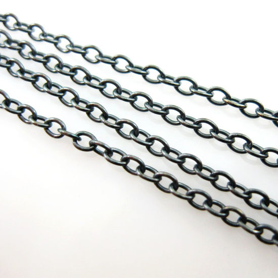 Oxidized Sterling Silver Chain - 2mm Strong Cable Oval Chain - Strong Chain - Unfinished Bulk Chain (sold per foot)