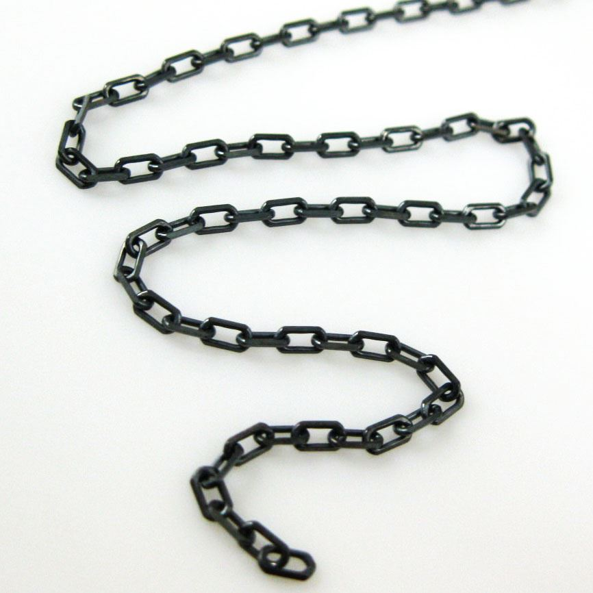 Oxidized Sterling Silver Chains -  Diamond Cut Box Chain 3mm - Unfinished Chains, Bulk Chains (Sold by foot)