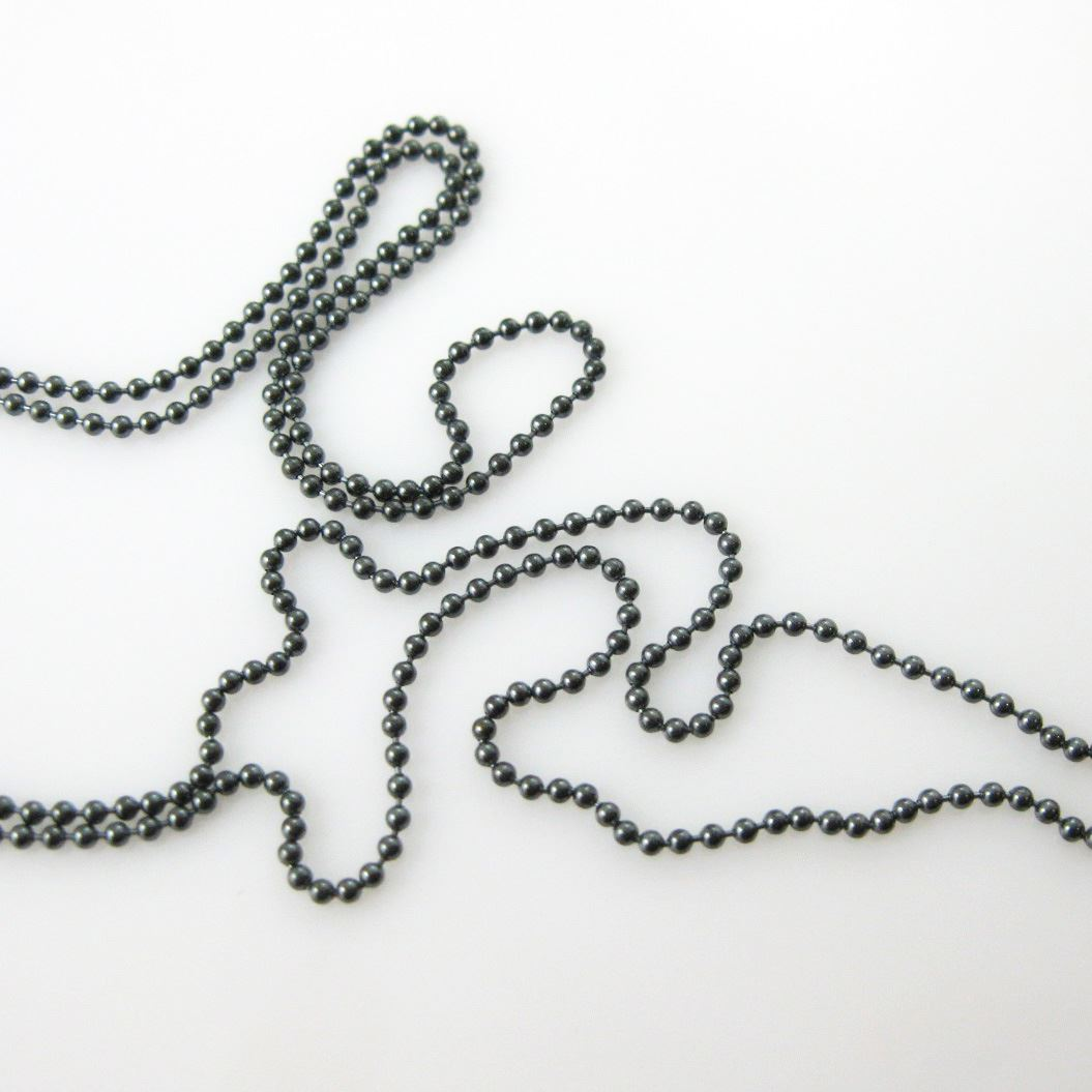 Oxidized Sterling Silver Chain- Bulk Ball Chain 1.2mm - Beaded Chain - Unfinished Chains, Bulk Chains (Sold Per Foot)