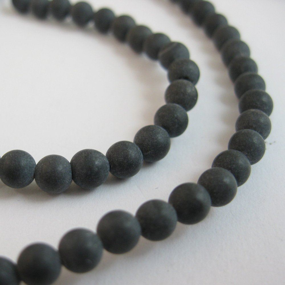 Black Gemstone - Matte Finish 4mm (Sold Per Strand)