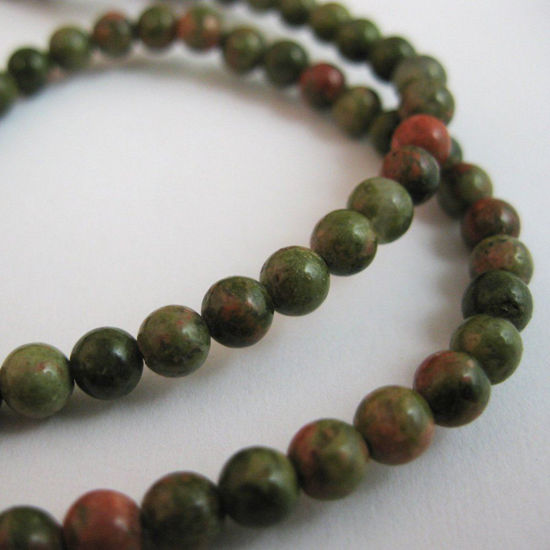 Unakite Beads - Smooth Round 4mm (Sold Per Strand)