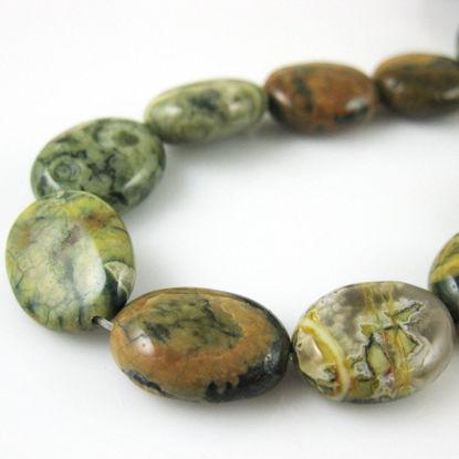 Gemstone Beads - Smooth Oval Jasper - 15x12mm (Sold Per Strand)