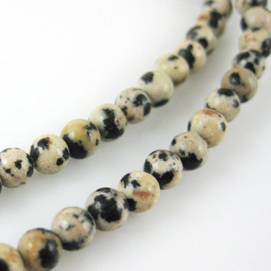 Dalmation Jasper Smooth Round Beads - 4mm