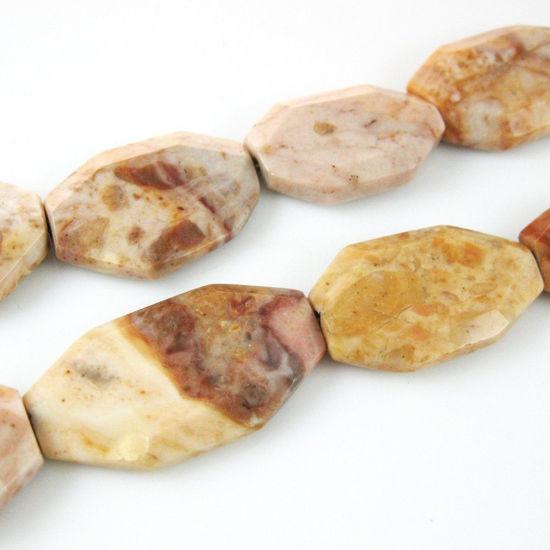 Jasper Flat Gemotric Nature Stone Beads 35x23mm (Sold Per Strand)