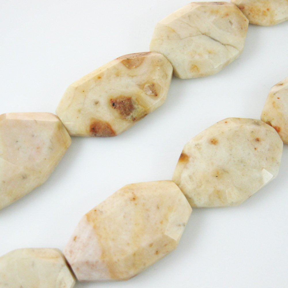 Jasper Flat Gemoetric Nature Stone Beads 40x20mm (Sold Per Strand)