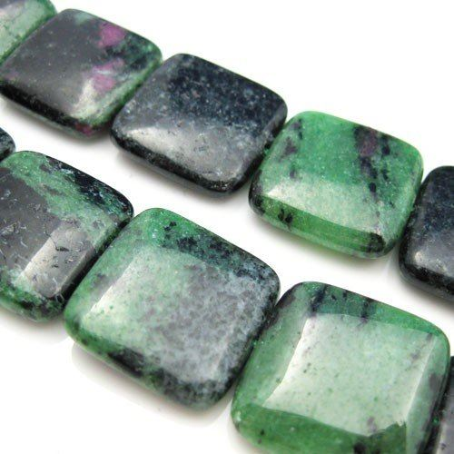 Ruby Zoisite Beads - Nature Stone - Smooth Square Shape 20mm -Half Strand