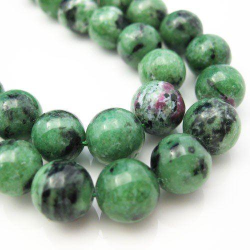 Ruby Zoisite Beads - Nature Stone - Smooth Round Shape 10mm -Half Strand