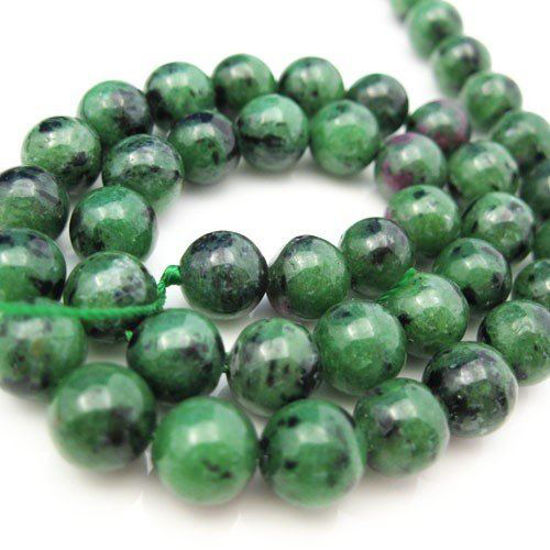 Ruby Zoisite Beads - Nature Stone - Smooth Round Shape 8mm -Half Strand