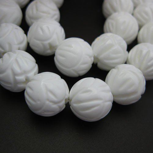 Giant Clam Shell Beads - Nature Stone - Carved Round Shape (Sold Per Strand)