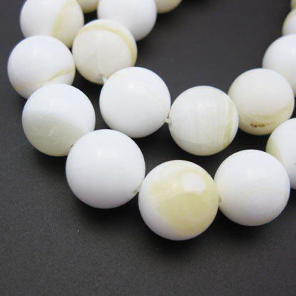 Giant Clam Shell Beads - Nature Stone - Smooth Round Shape with Yellow Ring (Sold Per Strand)