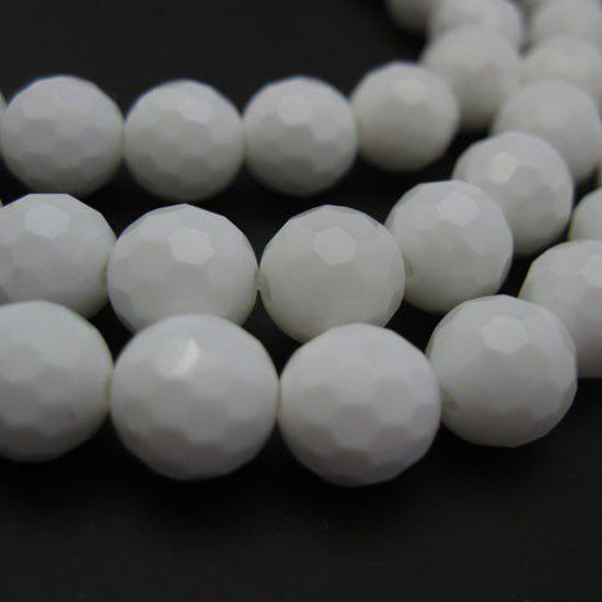 Giant Clam Shell Beads - Nature Stone - Faceted Round 8mm (Sold Per Strand)