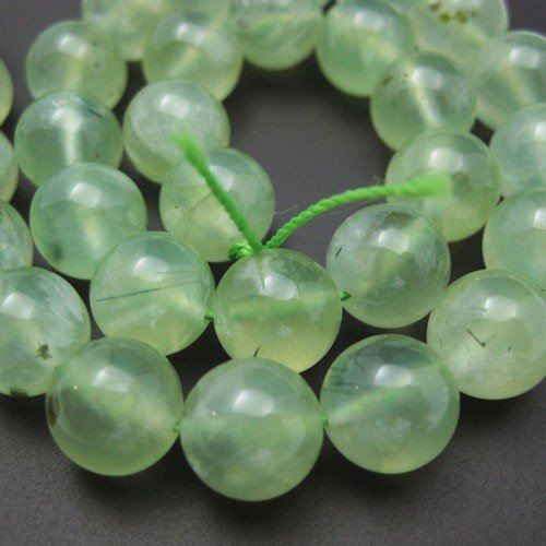 Prehnite Beads - Nature Stone - Smooth Round 10mm (Sold Per Strand)