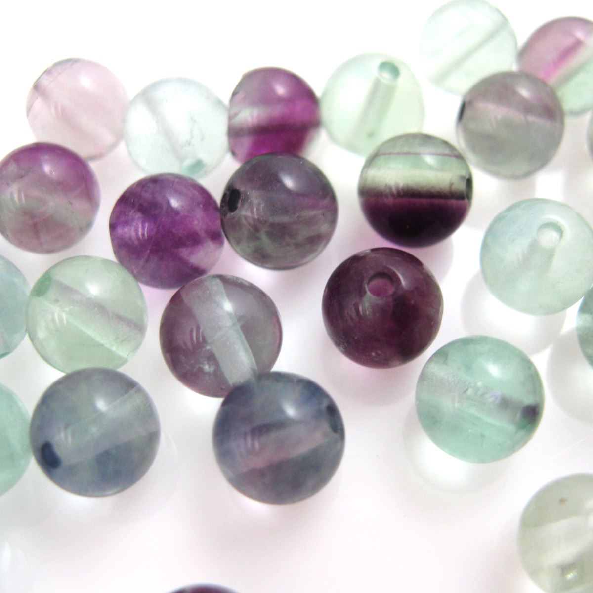 Flourite Beads- Green and Purple Smooth Round Nature Stone - 6mm Sold per strand