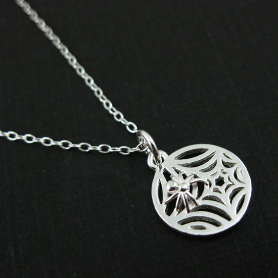 Sterling Silver Spider Web Necklace, Halloween Necklace