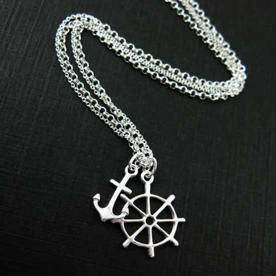 Sterling Silver Nautical Necklace, Double Layer Necklace, Anchor and Wheel Wire Wrapped Finish