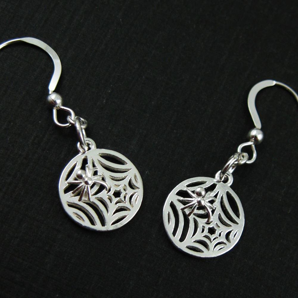 Sterling Silver Spider Web Earrings, Halloween Earrings, Spooky Jewelry