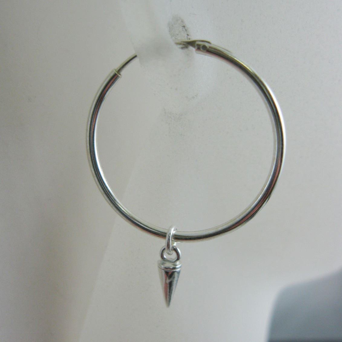Sterling Silver Spike Earring, Silver Spike Earrings, Single Spike Hoops, Spikey Hoop Earrings